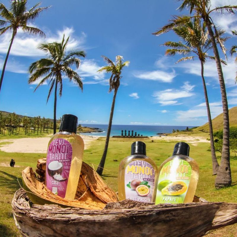 Tahitian Monoi parfym med doft av passion, tatuerande flaska - MONOI GOURMAND FRUITS DE LA PASSION 125ML