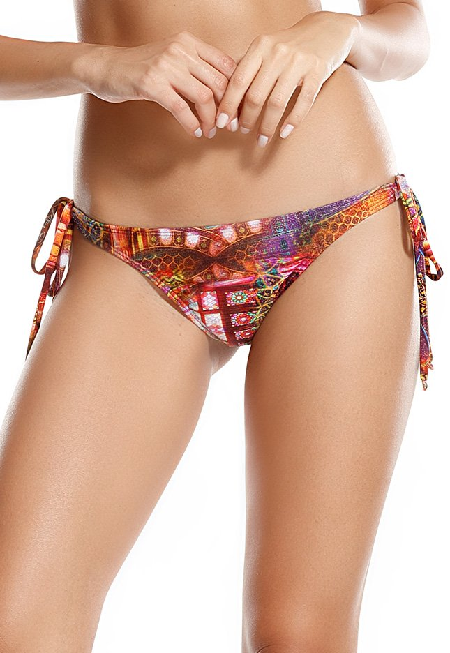 printed scrunch swimsuit thong with side ties   calcinha antiga persia