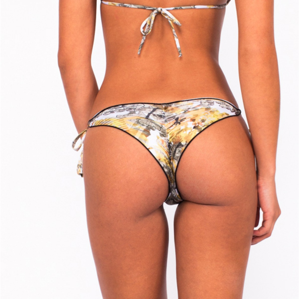 yellow printed scrunch and triangle micro bikini   esy amarelo