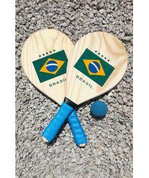 Набор из 2 ракеток с бразильским флагом и мячика - KIT RAQUETE MADEIRA BRASIL