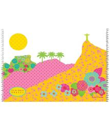 The pastel colours and Rio de Janeiro illustration print of this sarong will highlight your beach look - CANGA DOIS IRMAOS