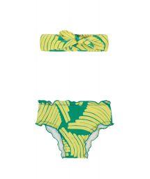 Baby swim panties and headband in green print - BANANA YELLOW BABY