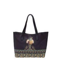 Black ocher print beach tote bag - BOLSA TAI KASUTI
