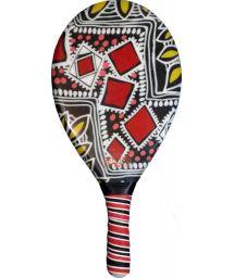 Ракетка для пляжного тенниса с красно-черным принтом - RAQUETE FIBRA ESTAMPADA CP10N