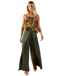 Set: green loose beach pants and tropical tank top - LULE GAYA VERDE