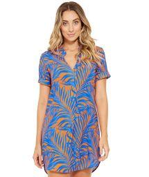 Blue and orange shirt beach dress - NAOMI CAYENA