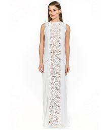 Vit rak strandklänning med blombroderi - AMANDA OFF WHITE