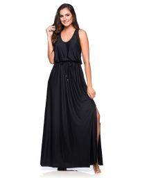 Black long racerback beach dress - LONGO PEDRAS PRETO
