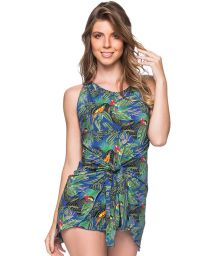 Tropical colorful tied mini beach dress - VESTIDO AMARRACAO ARARA AZUL
