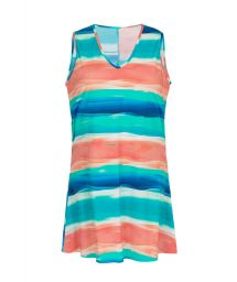 Sleeveless beach dress with blue & coral print - DRESS UPBEAT
