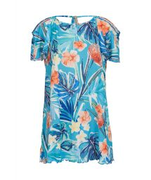 Floral print blue dress with bare shoulders - SAIDA ISLA OFF SHOULDER
