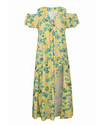 Long yellow beach dress with flowers and laced neckline - SAIDA LONG FLORESCER