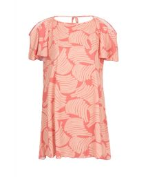 Printed beach dress with bare shoulders - SAIDA BANANA ROSE OFF SHOULDER