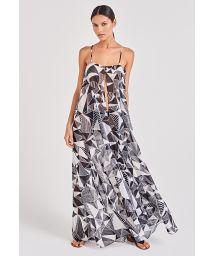 Black & white geometric light long beach dress - LEVE UMBRELLAS