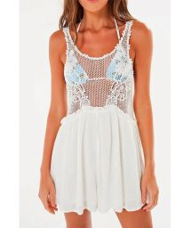 White bi-material playsuit with openwork - MACAQUINHO GUIPURE