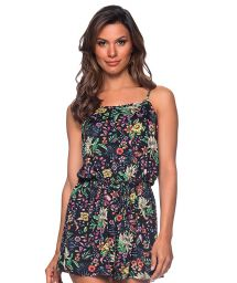 Beach romper in black floral print - MACAQUINO DREAM