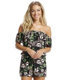 Floral beach romper with Bardot neckline - TROPICAL NATURE