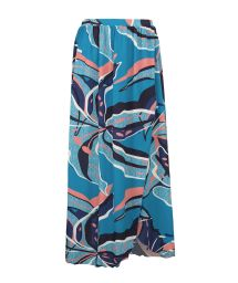 Long blue & pink printed beach skirt - SAIA LONGA LILLY