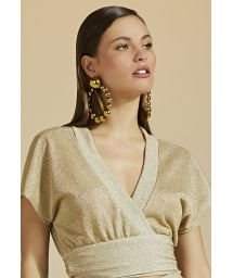 Luxurious gold beach crop top with lurex - TOP LUZ-MESCLA CLARO