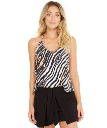 Zebra print beach top with strappy back - AMITY ZEBRADO