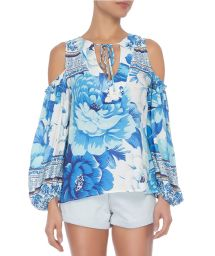 Blue bohemian floral blouse bare shoulders - BATA CHITA AZULEJO