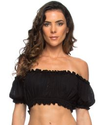 Black beach off the shoulder top - CROPPED CIGANINHA PRETO