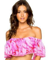 Off shoulder pink beach top leaves print - RUFFLE BAMBOLEO