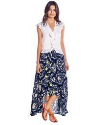 White beach top white with blue embroidery - MALPELO BLOUSE