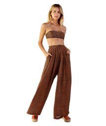 Wide ethnic brown beach pants - CATRINE GUINE