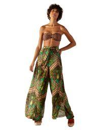 Wide ethnic printed beach pants - OCA JAVA