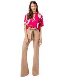 Belted beige flare trousers - CALCA ABERTURA FLARE