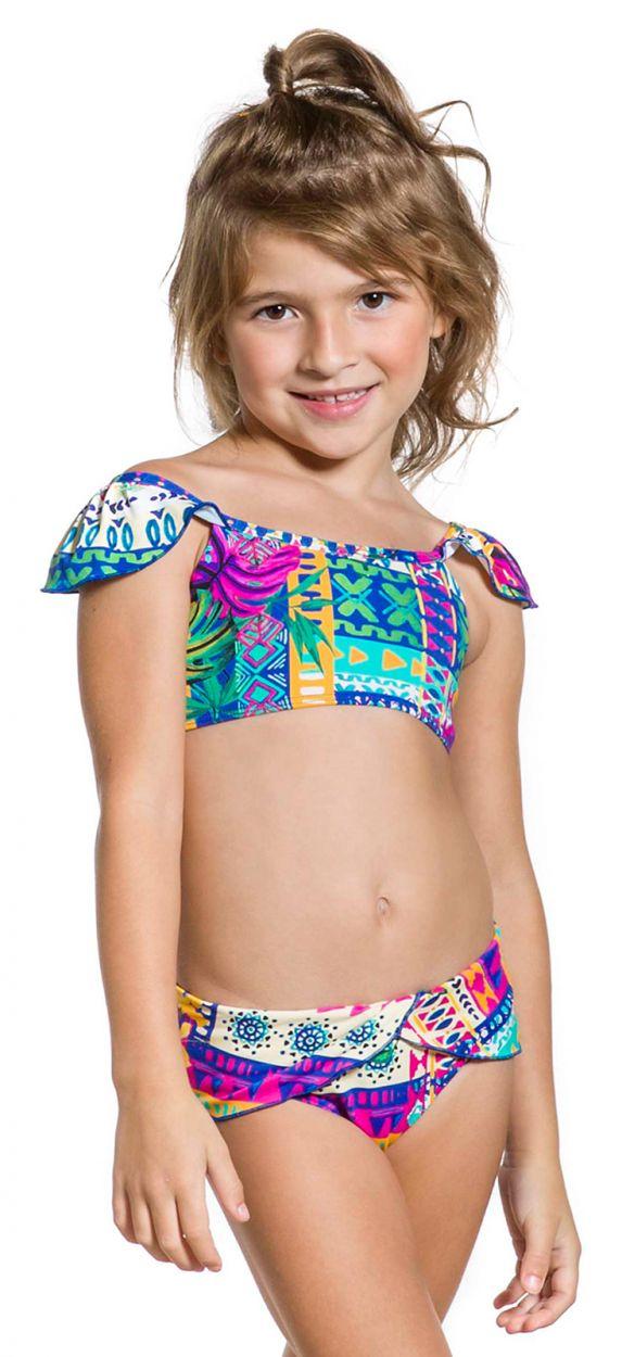 Girl two-piece swimsuit in ethnic colorful print - GIRL FRUFRU ETNICO
