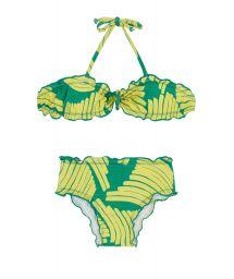 Bandeau bikini with green print for girls - BANANA YELLOW KIDS