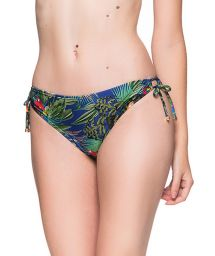 Colorful tropical double side-tie bikini bottom - BOTTOM ALONGADO ARARA AZUL