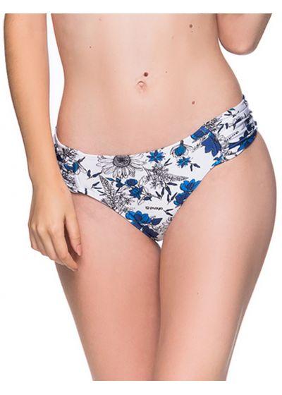 Blå/vit blommönstrad brasiliansk nederdel med breda plisserade sidor - BOTTOM DRAPE ATOBA