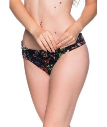 Floral black Brazilian bottom with pleated sides - BOTTOM DRAPE DREAM