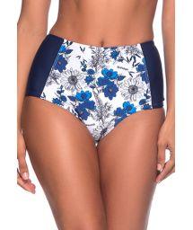 Blå/vit blommönstrad bikinibyxa med hög midja och slankgörande effekt - BOTTOM TQC ATOBA