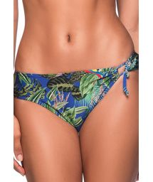 Colorful tropical single side-tied bikini bottom - BOTTOM TQC TRANSPASSADO ARARA AZUL