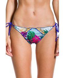 Printed scrunch Brazilian bikini bottom with blue back - BOTTOM CROPPED VISÃO