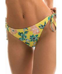 Accessorized yellow floral side-tie bikini bottom - BOTTOM FLORESCER HIGH COMFORT