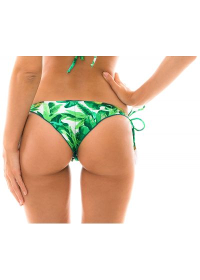 Leaves print scrunch bikini bottom - BOTTOM FOLHAGEM FRUFRU