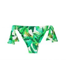 Green leaves side-tie bikini bottoms - BOTTOM FOLHAGEM TRANSPASSADO