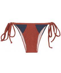 Burgundy / blue textured side-tie bikini bottom - BOTTOM LIQUOR RECORTE TRI