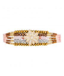 Gold & rose beaded mini cuff - rhinestone star - HIPANEMA ARIZANA PINK