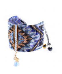 Blått/kopparfärgat manschettarmband av pärlor och pompong - Macui BE 3351L