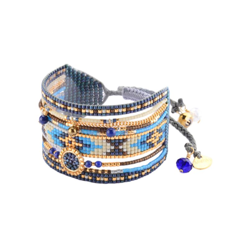 Cuff with blue beads and gold-coloured chain MEDLY BE 2940