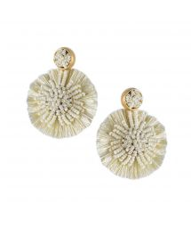 Round beige pom poms earrings - BLOOMING SUN EARRING-BE-M-7688