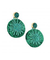 Round green pom poms earrings - BLOOMING SUN EARRING-BE-M-7706