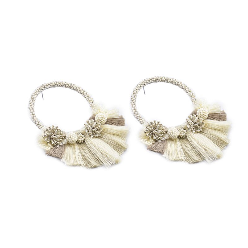 Earrings with beige pompons - big size - Cartagena Earring BE L 6417