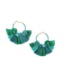 Beaded green creole earrings with tassels - CARTAGENA EARRING-BE-S-7626